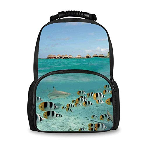 (Ocean Adorable School Bag,Blacktip Reef Shark Chasing Butterfly Fish Lagoon of Bora Bora Tahiti for Boys,12