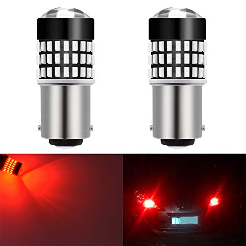 Bay15d Base - KaTur 2pcs 900 Lumens 1157 BAY15D 1016 1034 7528 Base Super Bright 3014 78SMD Lens LED Bulbs Brake Turn Signal Tail Backup Reverse Brake Light Lamp Red 12V 4W