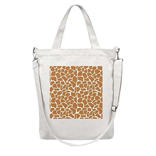 Funny giraffe print theam Women's Casual Canvas shoulder Diaper Bag suitable with market]()