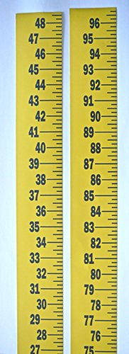 """(Extra Wide Ruler – Adhesive Backed – 3 Inch Wide X 96 Inch Long – Vertical Up – Fractional – 1/4"""" Grads – Yellow – 2 Pieces)"""
