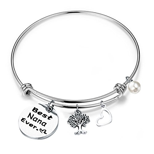 (RQIER Birthday Gift for Nana Best Nana Ever Bracelet Expandable Wire Bangle for Grandma (Bangle Bracelet))