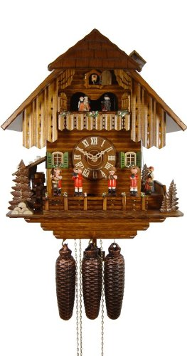 August Schwer Cuckoo Clock Black Forest House, Musicians, Ringer Girls