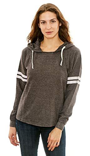 adc012db4e Lagaci Women's Casual Pullover Hoodie Long Sleeve Fashion Sweatshirt  (Charcoal, Small)