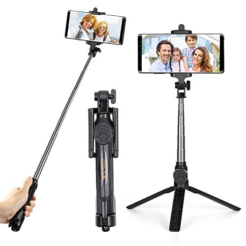 NEX Selfie Stick Extendable Lightweight Tripod Support Bluetooth Remote for Android and iOS Black
