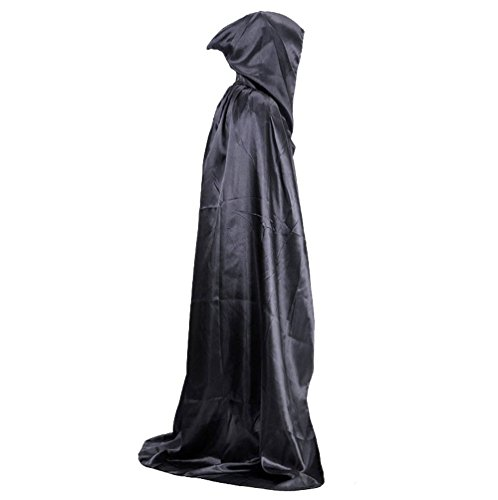 [JL Future Cosplay Cloak with Hood Party Dress up for Parties Grim Reaper Adult Cape, Black] (Lady Reaper Costumes)