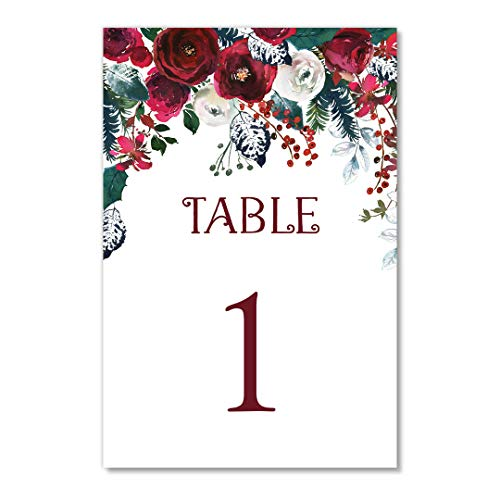 Red Floral Christmas Table Numbers 25 Pack Reserved Seating Elegant Single Sided 4