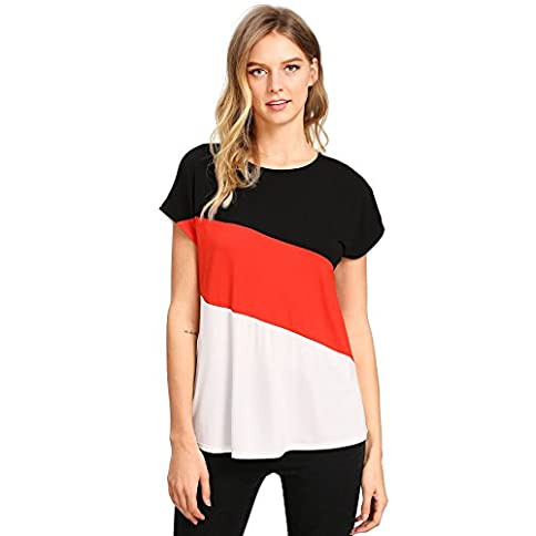 - 41oRM4yGNPL - Romwe Women's Color Block Blouse Short Sleeve Casual Tee Shirts Tunic Tops