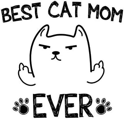 Taza de café divertida con texto en inglés «Best Cat Mom Ever» – regalo de Navidad para los amantes de los gatos de 325 ml, taza de gato blanco, colgante y tarjeta