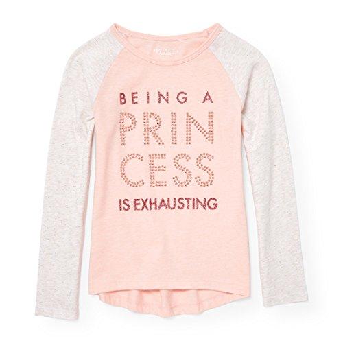 (The Children's Place Girls Active Long Glitter Raglan Sleeve Embellished Graphic Top,  X-Large / 14, Desertpnk)