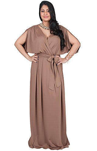 Adelyn and Vivian Plus Size Women's Long Short Sleeve V-Neck Flowy Bridesmaid Wedding Sexy Party Summer Maternity Elegant Cocktail Evening Gown Gowns Maxi Dress Dresses, Brown/Latte 3 X 22-24 - Tall Silk Gown