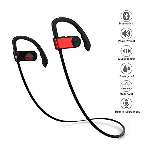 ETopLike Bluetooth Stereo Headphone, Wireless Sports Headset with Microphone, In-Ear Earbuds (Red)