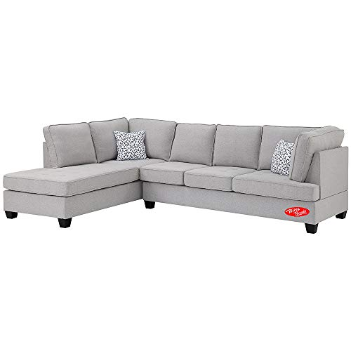 Sectional Sofa Set, Linen Fabric Sofa Set with Chaise and Accent Pillows, Great for Living Room, Guest Room, Office. 2019 Updated Model by Bliss Brands (Light Gray) (Best Sectional Couches 2019)
