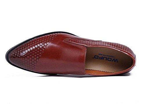 Hombres de 40 Atmósfera de Marrón Zapatos Cuero Tamaño Diario Acentuados Cómodos Vestir Ropa Color de Boda para Zapatos de Zapatos Puro Trabajo 1q16t