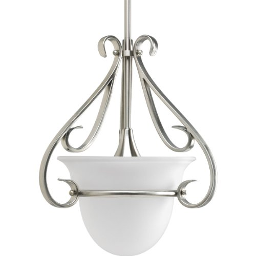 (Progress Lighting P5144-09 1-Light Stem-Hung Mini-Pendant with Etched White Bell-Shaped Glass Bowl and Squared Scrolls and Arms, Brushed Nickel)