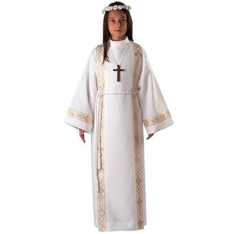 DOMUS SACRA Tunica Vestito Prima Comunione Bianco con Fasce (Unisex)  Completa di Croce E 10b9594f0060