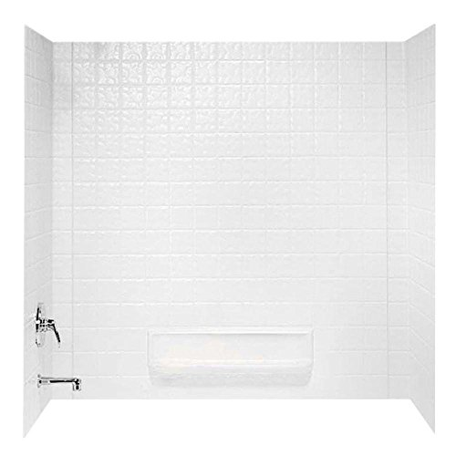 Swanstone TI30000.010 Veritek Glue-Up 3 Panel Bathtub Wall Kit, 30-in L X 60-in H X 59.625-in H, White (Best Adhesive For Tub Surround)