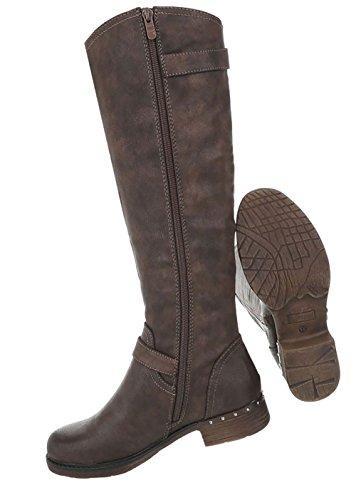 Optik Damen Schuhe Used Stiefel Braun xSCSBwtqO