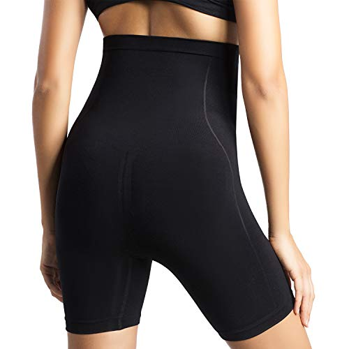 +MD Seamless High Waist Tummy Control Panties Shapewear Panties Body Shorts Shaper Thigh Slimmer for Women BlackL