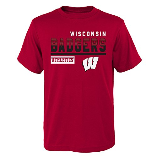(Gen 2 NCAA Wisconsin Badgers Kids & Youth Boys Sonic Boom Basic Tee, Kids Large(7), Dark Red)