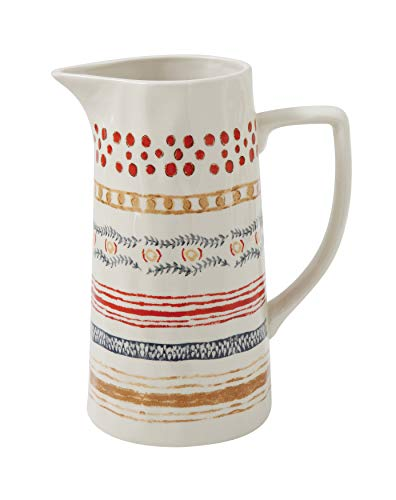Creative Co-Op Red, Beige & Blue Striped Stoneware Pitcher