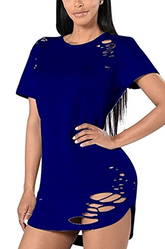 [Menglihua Womens Round Neck Short Sleeve Ripped Broken Hole Loose T Shirt Top Blouse Blue X-Large] (Long Way Down T-shirt)