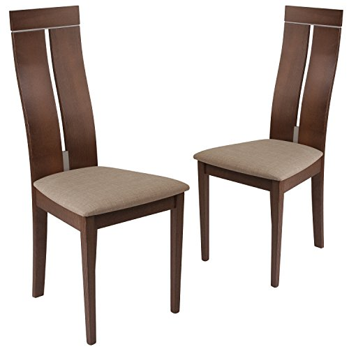 Flash Furniture 2 Pk. Avalon Walnut Finish Wood Dining Chair with Clean Lines and Magnolia Brown Fabric Seat