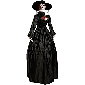 """Halloween Haunters 80"""" Life-Size Animated Standing Zombie Widow Witch Lady Prop Decoration - Rubber Latex Scary Face, Light Up Eyes - Animatronic Body Turning Motion - AC & Battery Operated"""