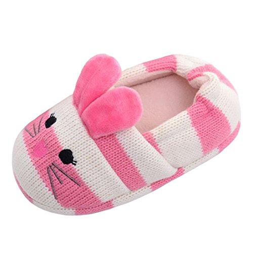 Beeliss Toddler Girls Slippers Cartoon Animal Crochet Shoes (9-10 M US Toddler, Pink) -