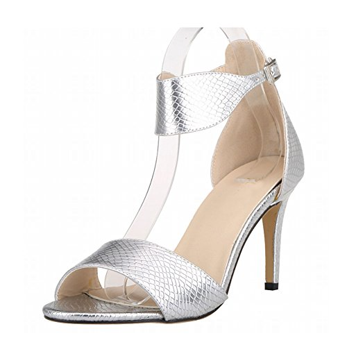 Zhuhaixmy New Women Ladies High Heels Peep Toe Belt Buckle Crocodile Pattern Sandals Shoes Silver 9bHk5C