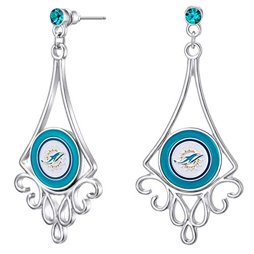 Pro Specialties Group NFL Miami Dolphins Diamond Floral Post Earrings