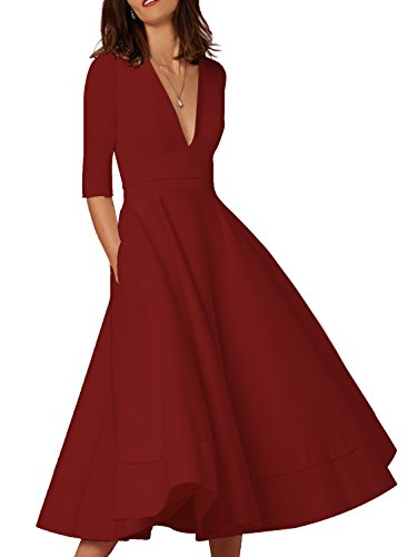 HUSKARY Women's Fashion New Ruched Waist Classy Deep-V Neck Party Tunic Swing Dress (Red, Large)