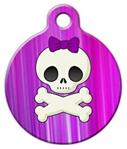 Girlie Skull - Custom Pet ID Tag for Dogs and Cats - Dog Tag Art - LARGE SIZE