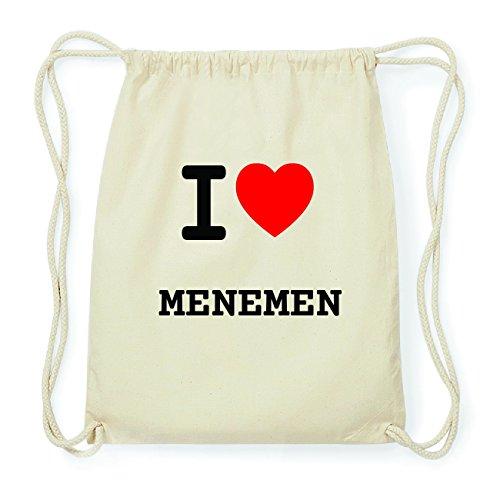 JOllify MENEMEN Hipster Turnbeutel Tasche Rucksack aus Baumwolle - Farbe: natur Design: I love- Ich liebe