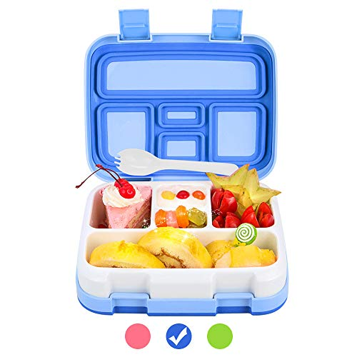 Bento Box for Kids Lunch Box BPA-Free DaCool Upgraded Toddler School Lunch Container with Spoon 5-Compartment Leak Proof Durable, Meal Fruit Snack Packing for Picnic Outdoors, Microwave Safe - Blue (Lunch Box Bpafree Kids For)