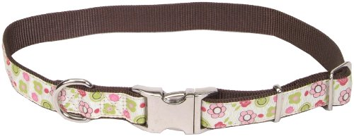 Pet Attire® Ribbon Adjustable Nylon Dog Collar with Aluminum Buckle, Floral Rose Pattern, 5/8