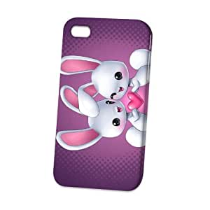 Case Fun Apple iPhone 4 / 4S Case - Vogue Version - 3D Full Wrap - Rabbits in Love