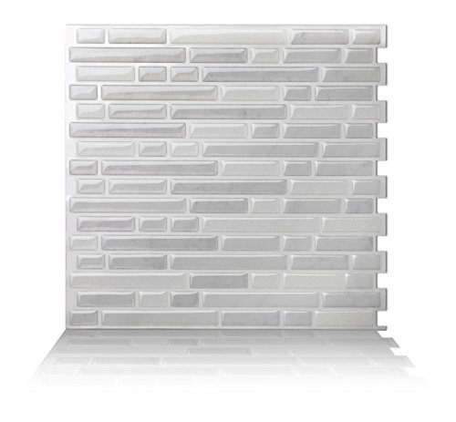 Tic Tac Tiles 5-Sheet Peel and Stick Self Adhesive Removable Stick On Kitchen Backsplash Bathroom 3D Wall Sticker Wallpaper Tiles in Como White