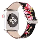 Pantheon Designer Leather Compatible Apple Watch Band for Women - 42mm - Luxury iWatch Strap Options for Series 3 2 1 Hermes or Nike+ Edition