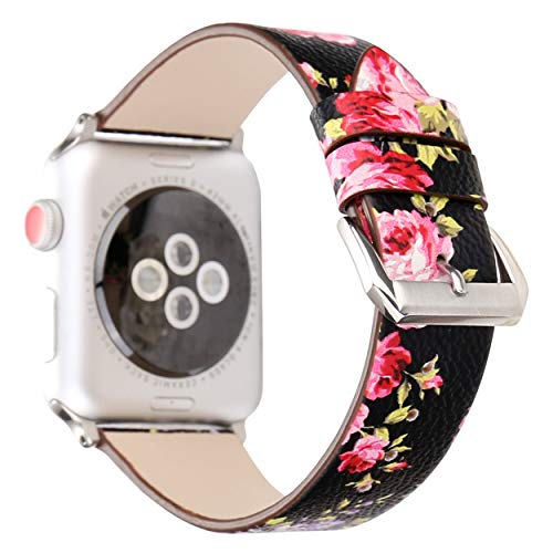(Pantheon Compatible with Apple Watch Band 38mm 40mm for Women - Floral Leather Compatible iWatch Bands/Strap for Series 4 3 2 1)