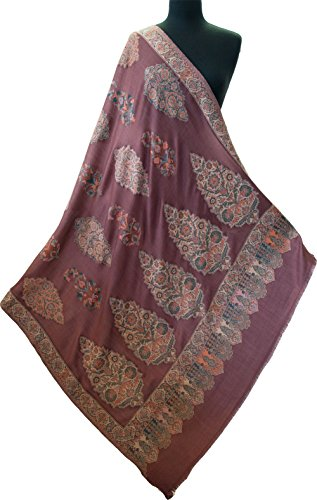Wine Red Shawl Large Hand-Cut Kani Gold Jamavar Paisley Wool with Fine Details by Heritage Trading (Image #1)