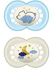 MAM Night fopspeen in een set van 2, lichtgevende babyspeen, zeer zacht speentje voor vertrouwd gevoel en snelle acceptatie, met transportdoosje, 6-16 maanden, blauw