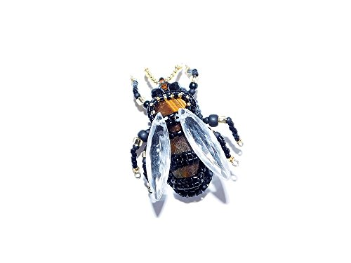Bead Embroidered Bee Brooch with Tiger's Eye Cabochons. Bumble-Bee Wasp Insect Pin. Black Gold Brown Brooch. Lapel Pin. Free shipping USA & Canada (Cabochon Tigers Eye)