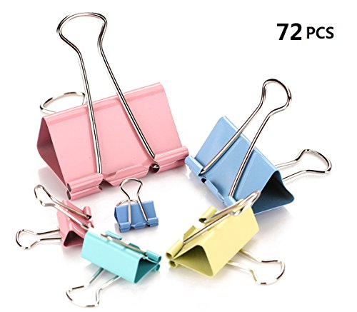 Fireboomoon Binder Clips, Assorted Sizes, Multicolor, 72 per Pack