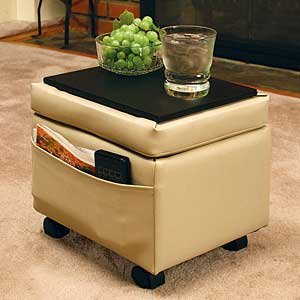 Storage Ottoman with Snack Tray-Almond Biege Color - Storage Ottoman Wheels