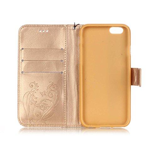 Trumpshop Smartphone Carcasa Funda Protección para Apple iPhone 6/6s Plus 5.5 (Serie Diamante) + Azul + PU Cuero Caja Protector con Cierre Magnético la Ranura la Tarjeta Choque Absorción Oro