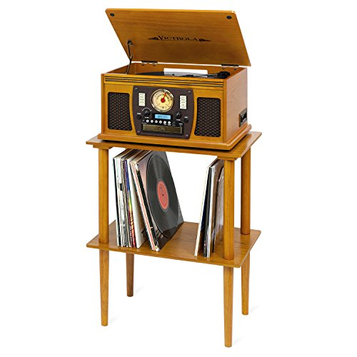 Victrola Wooden Stand for Wooden Music Centers with Record Holder Shelf, Oak