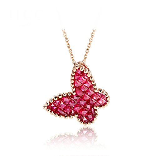 Daesar 18K Gold Necklace For Women Butterfly Cubic Zirconia Necklace Rose Gold Chain Length: 40+5CM by Daesar