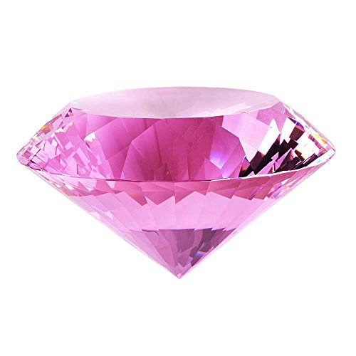 Crystal Glass Diamond Shaped Decoration, Pink 60mm Jewel Paperweight,Gift Decoration Idea for Christmas, Thanksgiving -