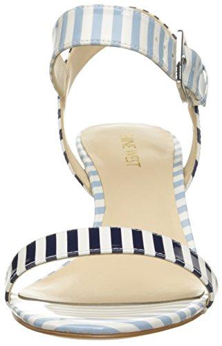 Nine West Kiani sintético cuña de la sandalia White/Navy/White/Light Blue