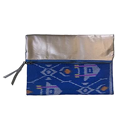 Meridian110 Eco-Friendly Convertible Cosmetic Bag / Organizer Pouch / Lux Metallic Fold Over Clutch with Ikat Pattern